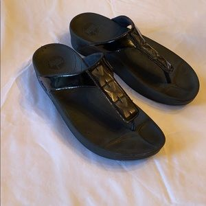 Fitflop Black Patent Jewel Sandal